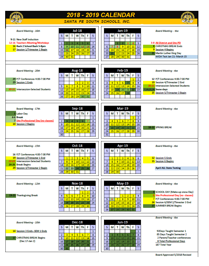 REvised calendar