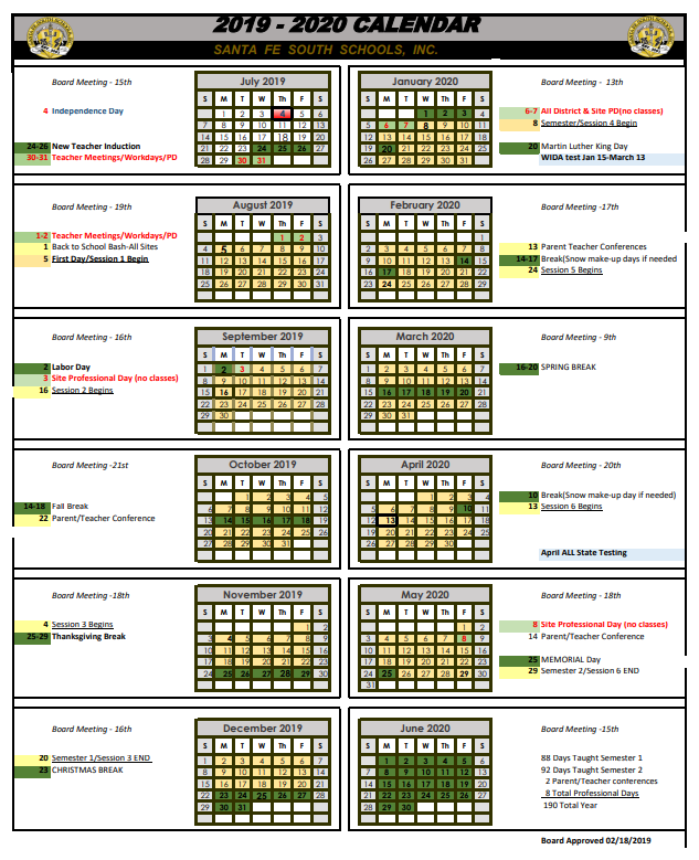 Santa Fe Calendar 2020 2019 2020 Calendar – Santa Fe South Pathways Middle College